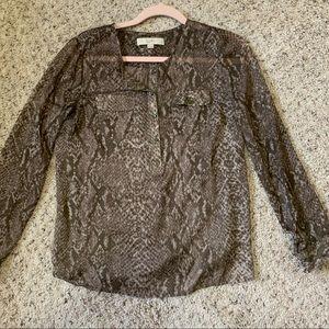 Loft snakeskin brown blouse